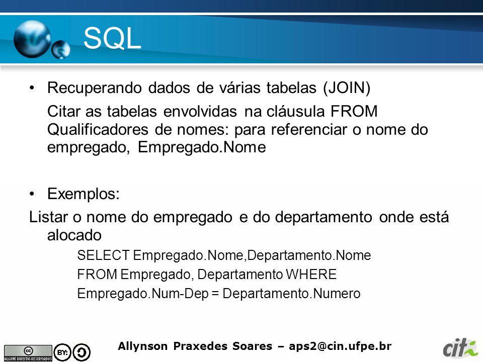 SQL Recuperando dados de várias tabelas (JOIN)
