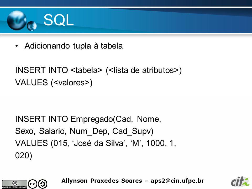 SQL Adicionando tupla à tabela