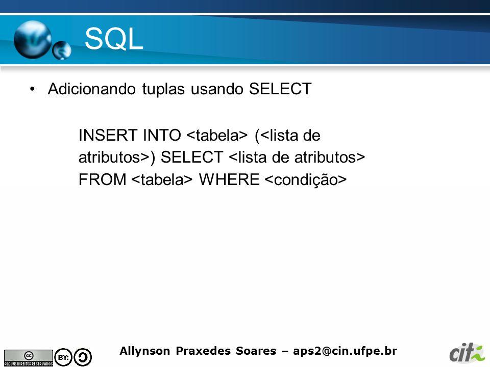 SQL Adicionando tuplas usando SELECT
