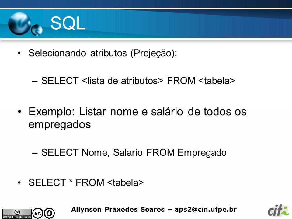 SQL Exemplo: Listar nome e salário de todos os empregados