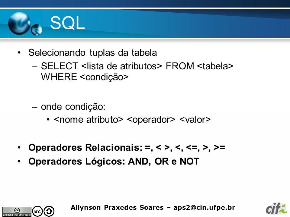 SQL Selecionando tuplas da tabela