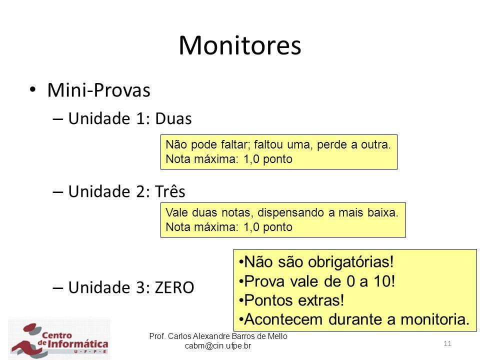 Monitores Mini-Provas Unidade 1: Duas Unidade 2: Três Unidade 3: ZERO