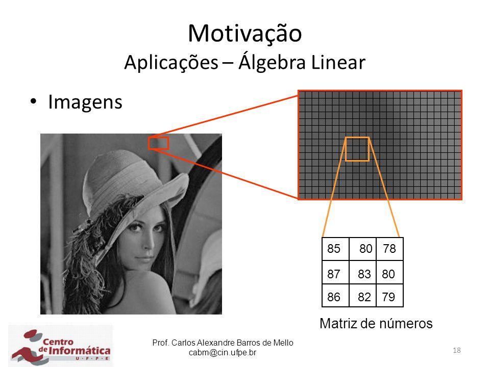 Motivação Aplicações – Álgebra Linear