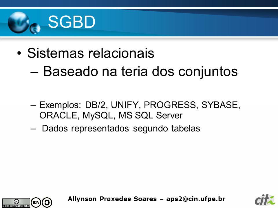 SGBD Sistemas relacionais Baseado na teria dos conjuntos