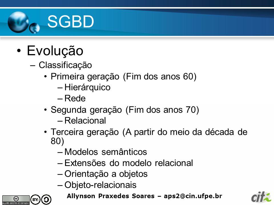 SGBD Evolução Classificação Primeira geração (Fim dos anos 60)