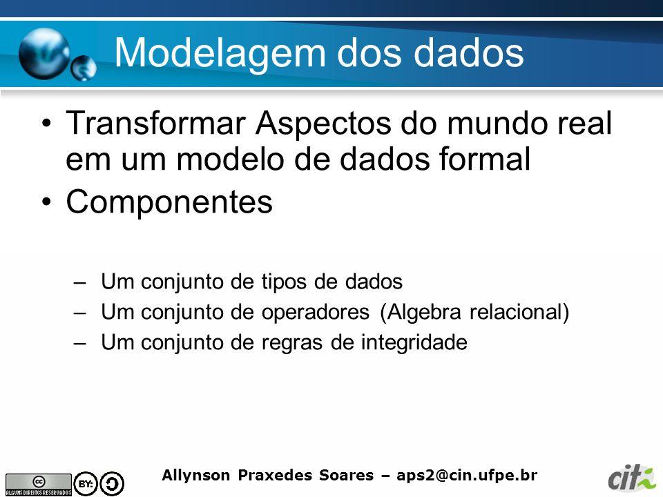 Modelagem dos dados Transformar Aspectos do mundo real em um modelo de dados formal. Componentes.