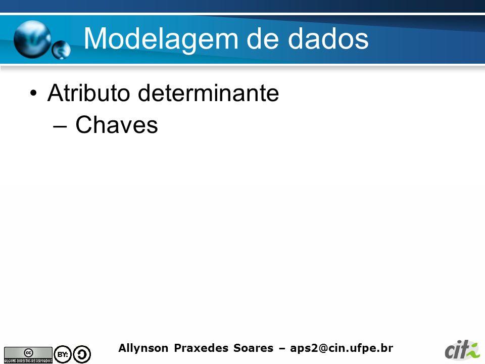 Modelagem de dados Atributo determinante Chaves