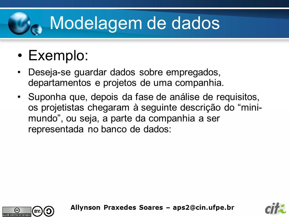 Modelagem de dados Exemplo: