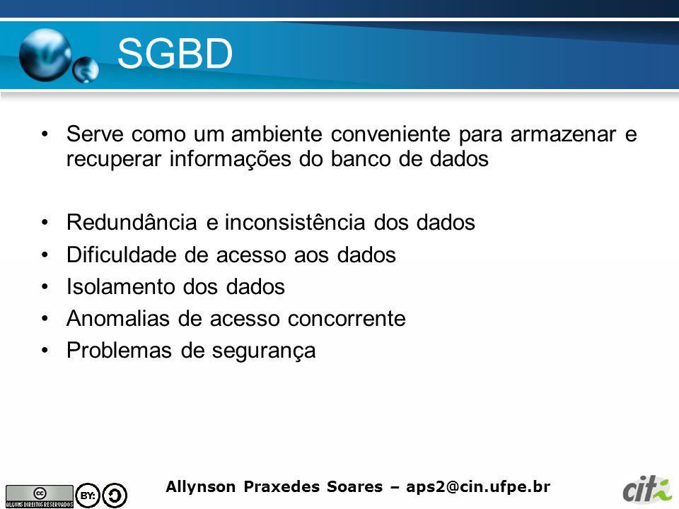 SGBD Serve como um ambiente conveniente para armazenar e recuperar informações do banco de dados. Redundância e inconsistência dos dados.