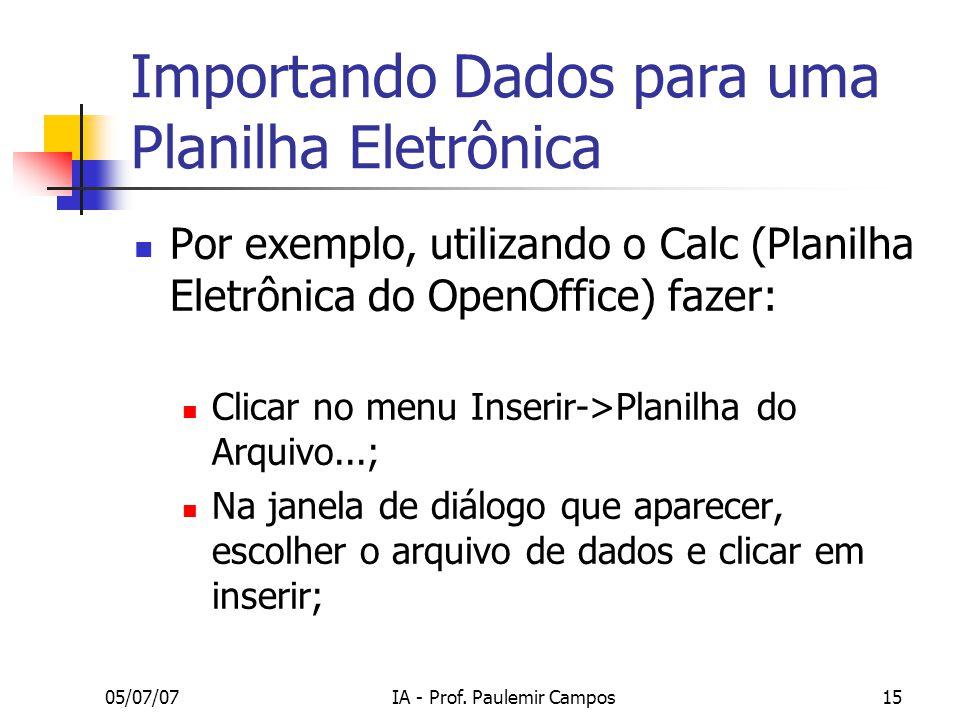 Importando Dados para uma Planilha Eletrônica