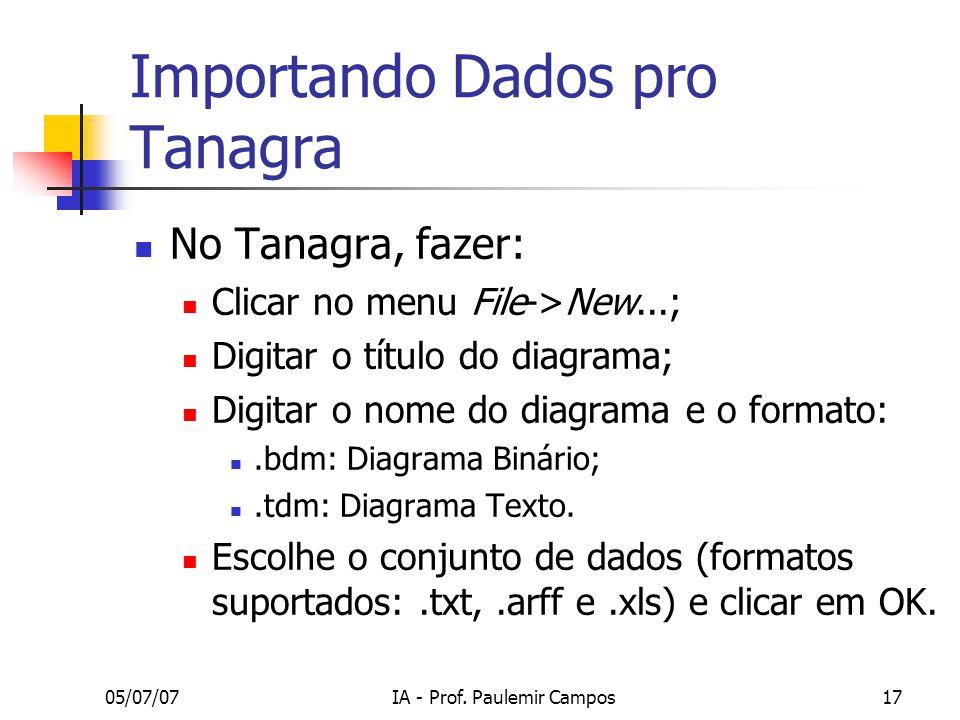 Importando Dados pro Tanagra