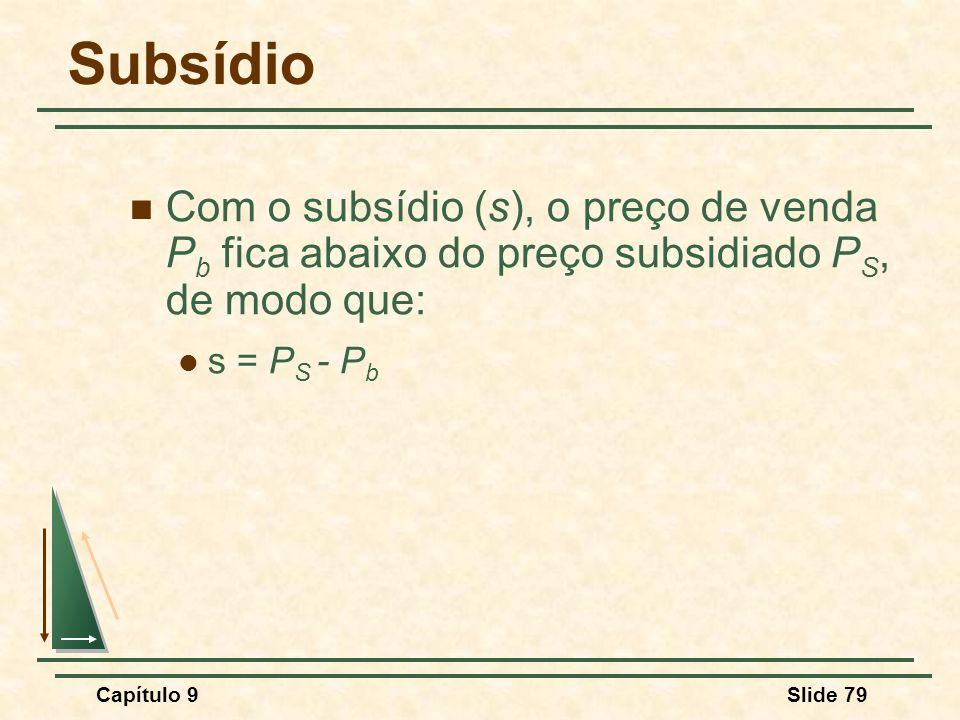 Subsídio Com o subsídio (s), o preço de venda Pb fica abaixo do preço subsidiado PS, de modo que: