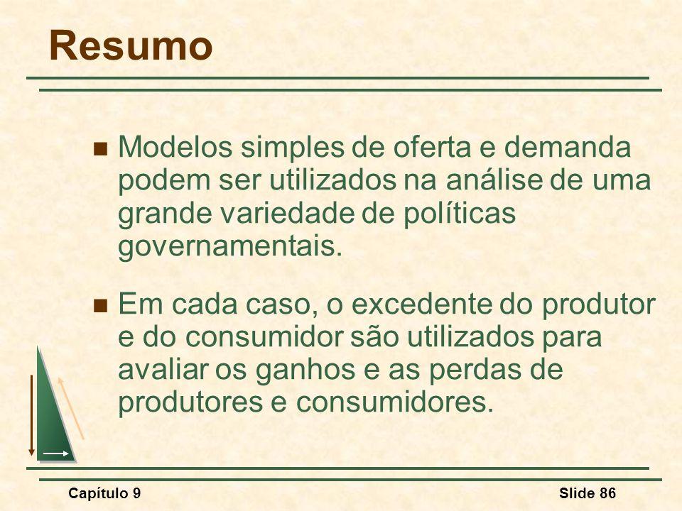 Resumo Modelos simples de oferta e demanda podem ser utilizados na análise de uma grande variedade de políticas governamentais.