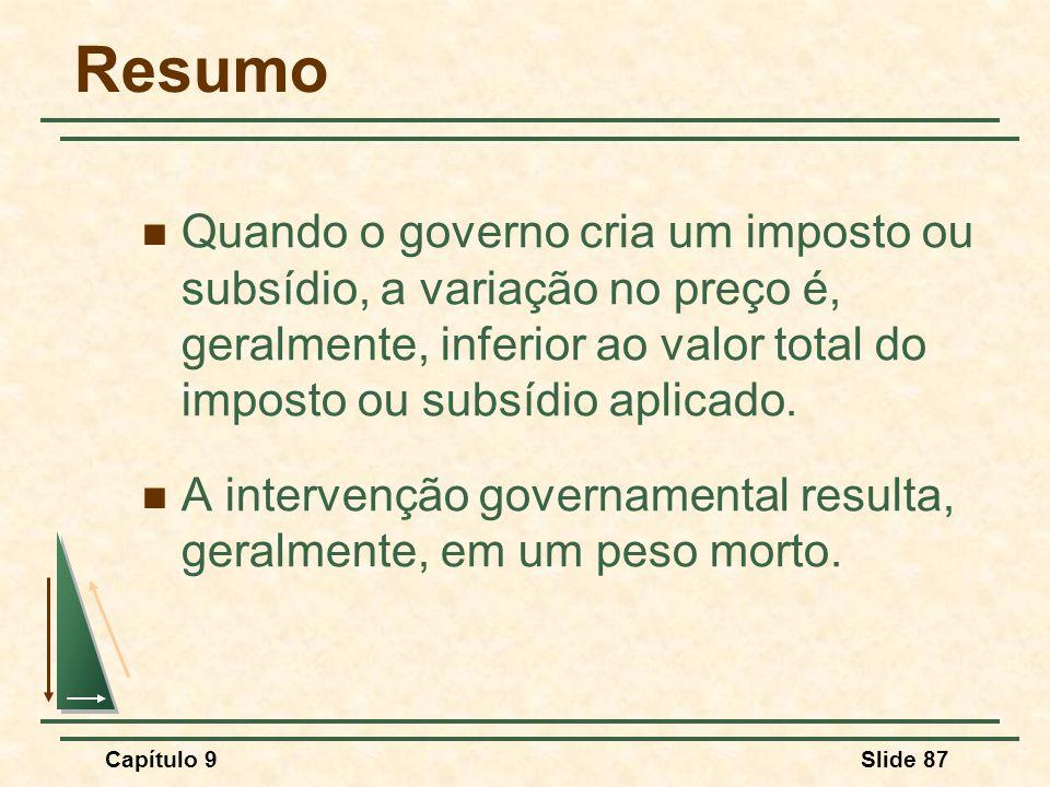 Resumo Quando o governo cria um imposto ou subsídio, a variação no preço é, geralmente, inferior ao valor total do imposto ou subsídio aplicado.
