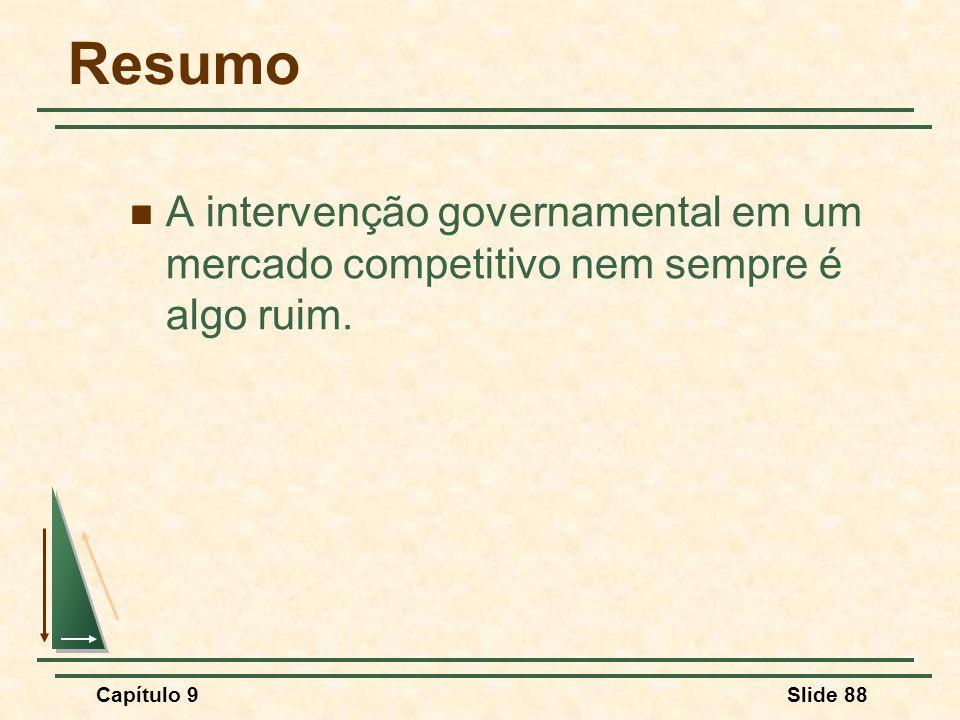 Resumo A intervenção governamental em um mercado competitivo nem sempre é algo ruim. Capítulo 9.