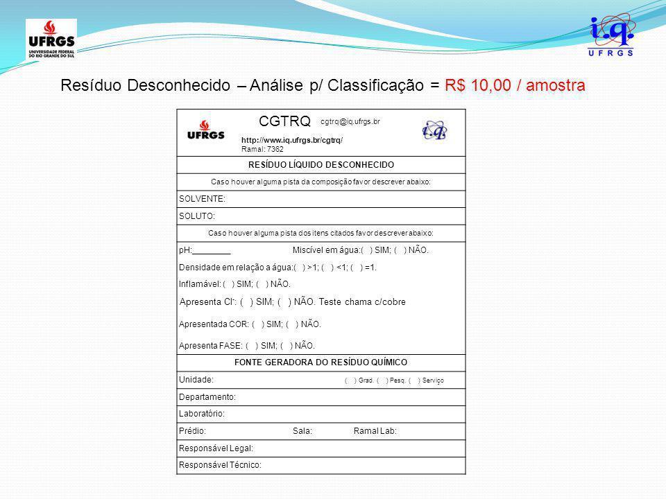 RESÍDUO LÍQUIDO DESCONHECIDO FONTE GERADORA DO RESÍDUO QUÍMICO