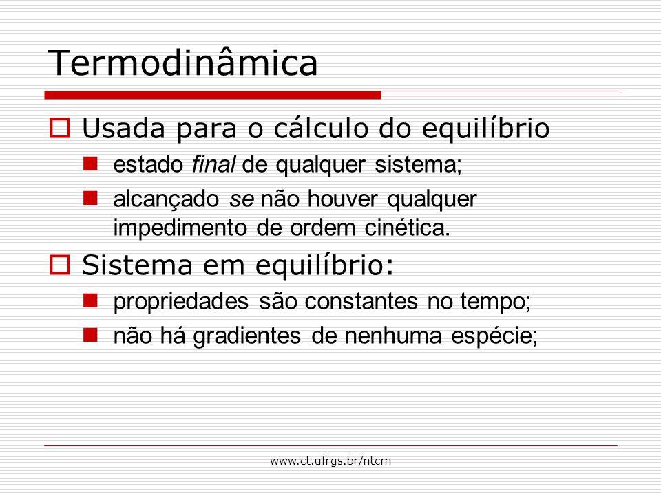 Termodinâmica Usada para o cálculo do equilíbrio
