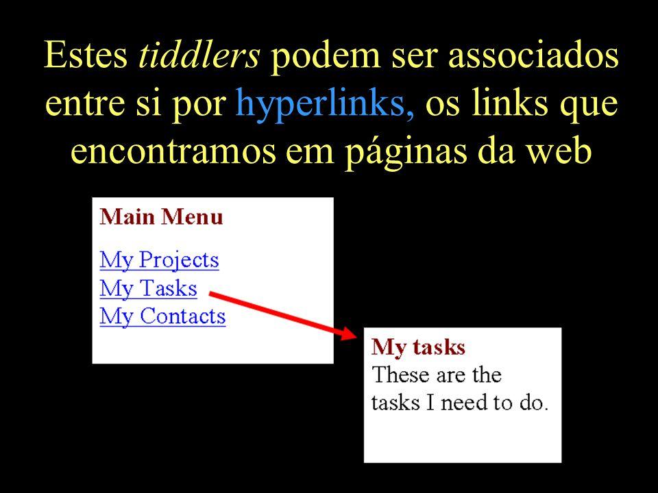 Estes tiddlers podem ser associados entre si por hyperlinks, os links que encontramos em páginas da web