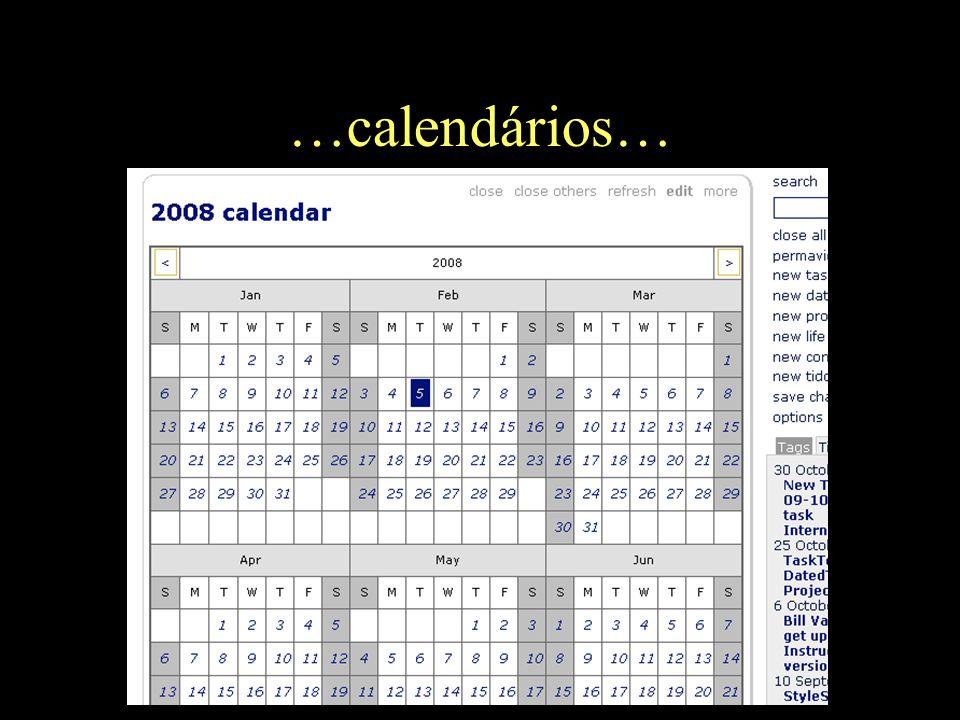 …calendários…