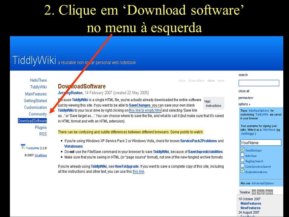 2. Clique em 'Download software' no menu à esquerda