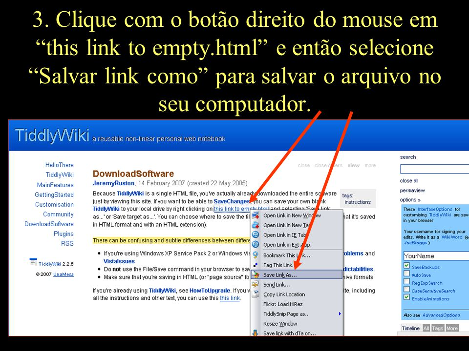 3. Clique com o botão direito do mouse em this link to empty