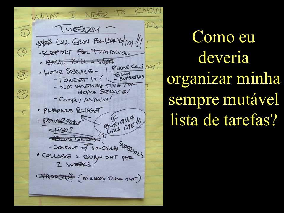 Como eu deveria organizar minha sempre mutável lista de tarefas