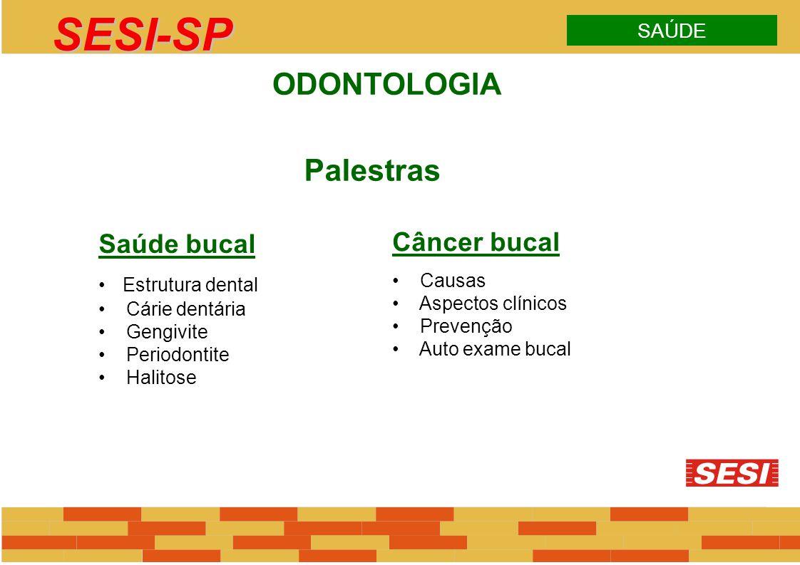 SESI-SP Palestras ODONTOLOGIA Saúde bucal Câncer bucal SAÚDE