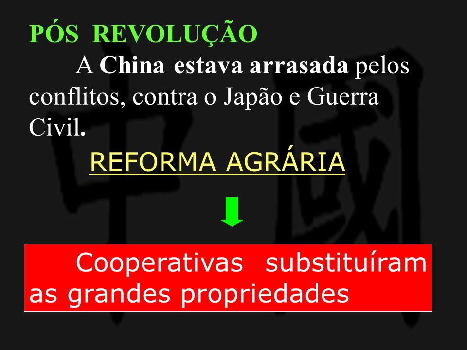 PÓS REVOLUÇÃO A China estava arrasada pelos conflitos, contra o Japão e Guerra Civil. REFORMA AGRÁRIA.