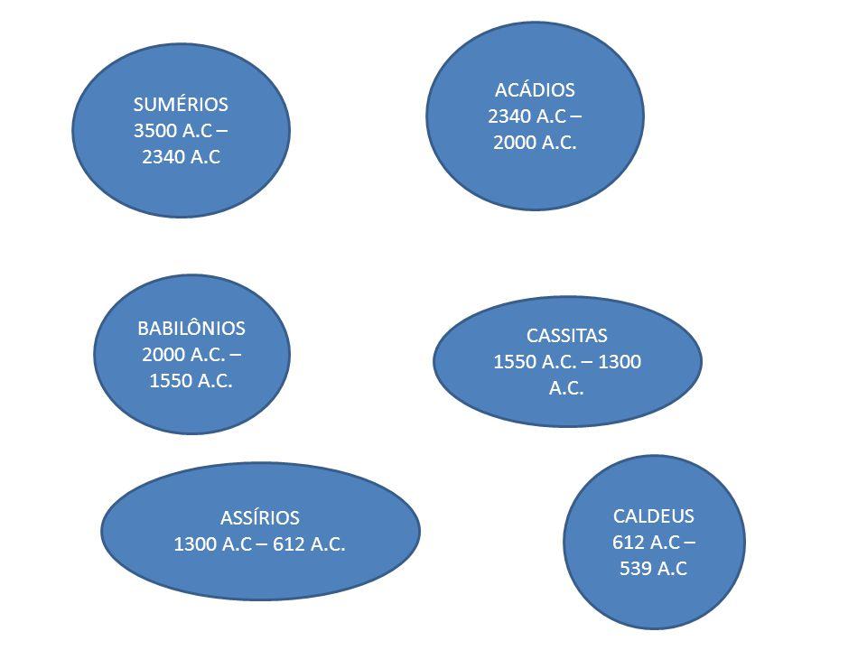 ACÁDIOS 2340 A.C – 2000 A.C. SUMÉRIOS. 3500 A.C – 2340 A.C. BABILÔNIOS. 2000 A.C. – 1550 A.C. CASSITAS.