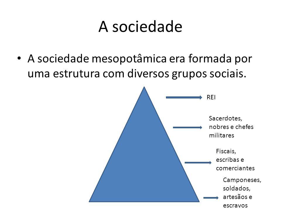 A sociedade A sociedade mesopotâmica era formada por uma estrutura com diversos grupos sociais. REI.