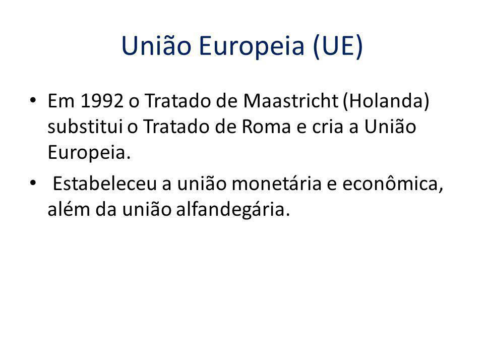 União Europeia (UE) Em 1992 o Tratado de Maastricht (Holanda) substitui o Tratado de Roma e cria a União Europeia.