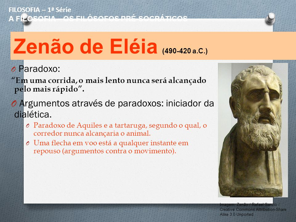 FILOSOFIA – 1ª Série A FILOSOFIA – OS FILÓSOFOS PRÉ-SOCRÁTICOS. Zenão de Eléia (490-420 a.C.) Paradoxo: