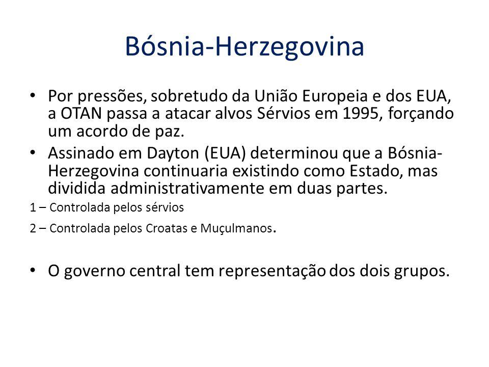 Bósnia-Herzegovina Por pressões, sobretudo da União Europeia e dos EUA, a OTAN passa a atacar alvos Sérvios em 1995, forçando um acordo de paz.