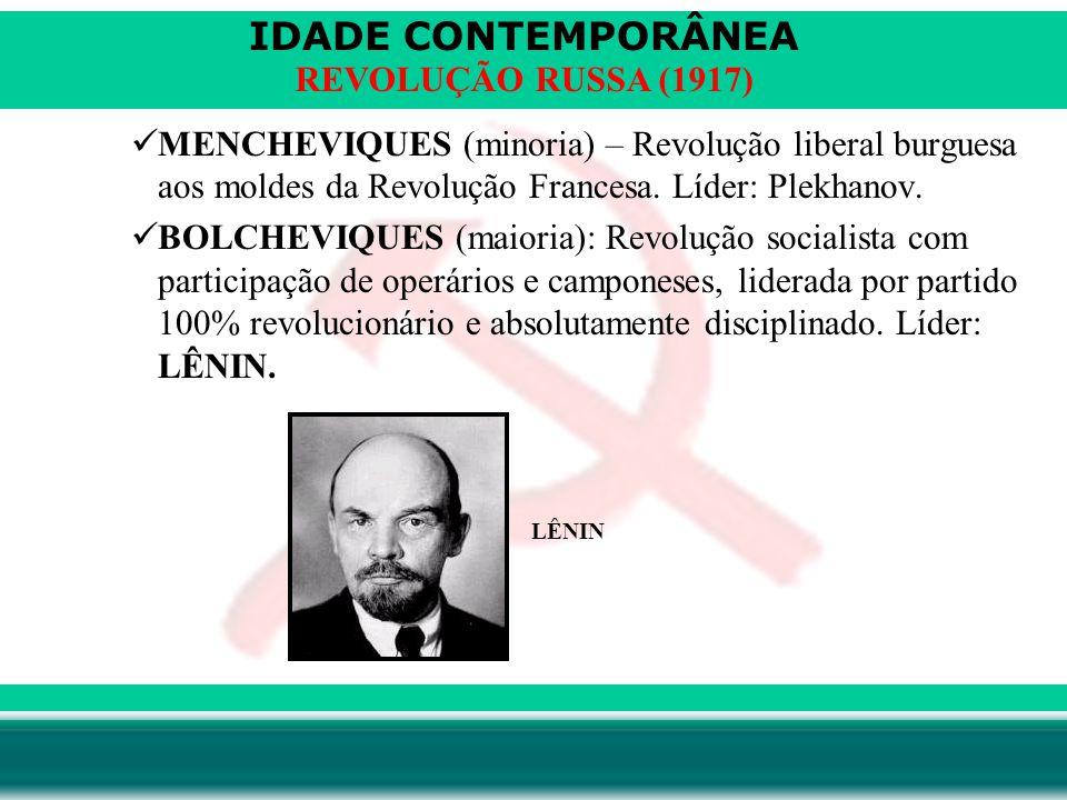 MENCHEVIQUES (minoria) – Revolução liberal burguesa aos moldes da Revolução Francesa. Líder: Plekhanov.
