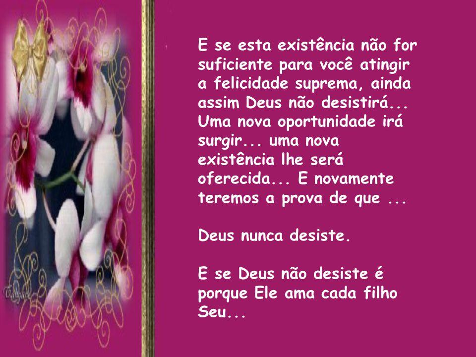 E se esta existência não for suficiente para você atingir a felicidade suprema, ainda assim Deus não desistirá...