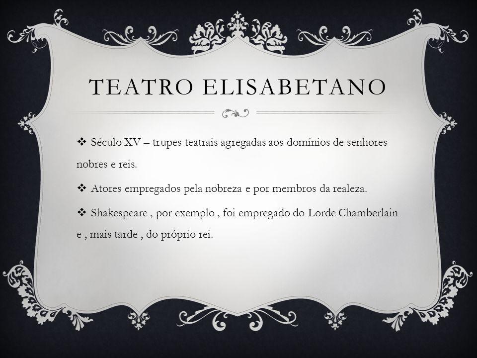 TEATRO ELISABETANO Século XV – trupes teatrais agregadas aos domínios de senhores nobres e reis.