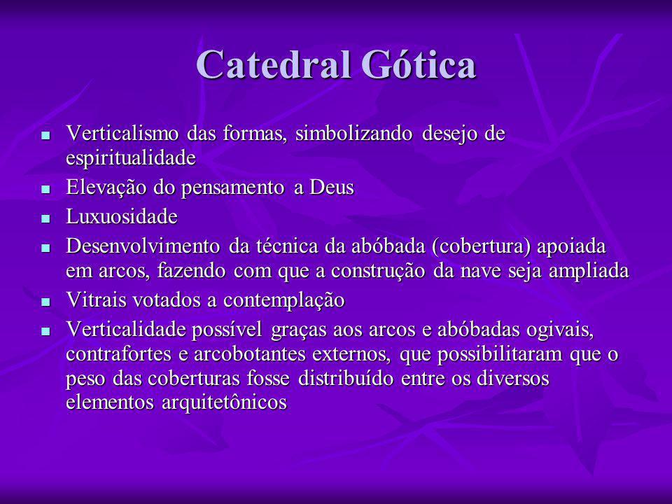 Catedral Gótica Verticalismo das formas, simbolizando desejo de espiritualidade. Elevação do pensamento a Deus.