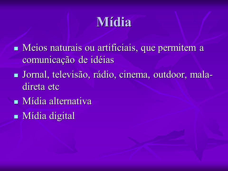 Mídia Meios naturais ou artificiais, que permitem a comunicação de idéias. Jornal, televisão, rádio, cinema, outdoor, mala-direta etc.