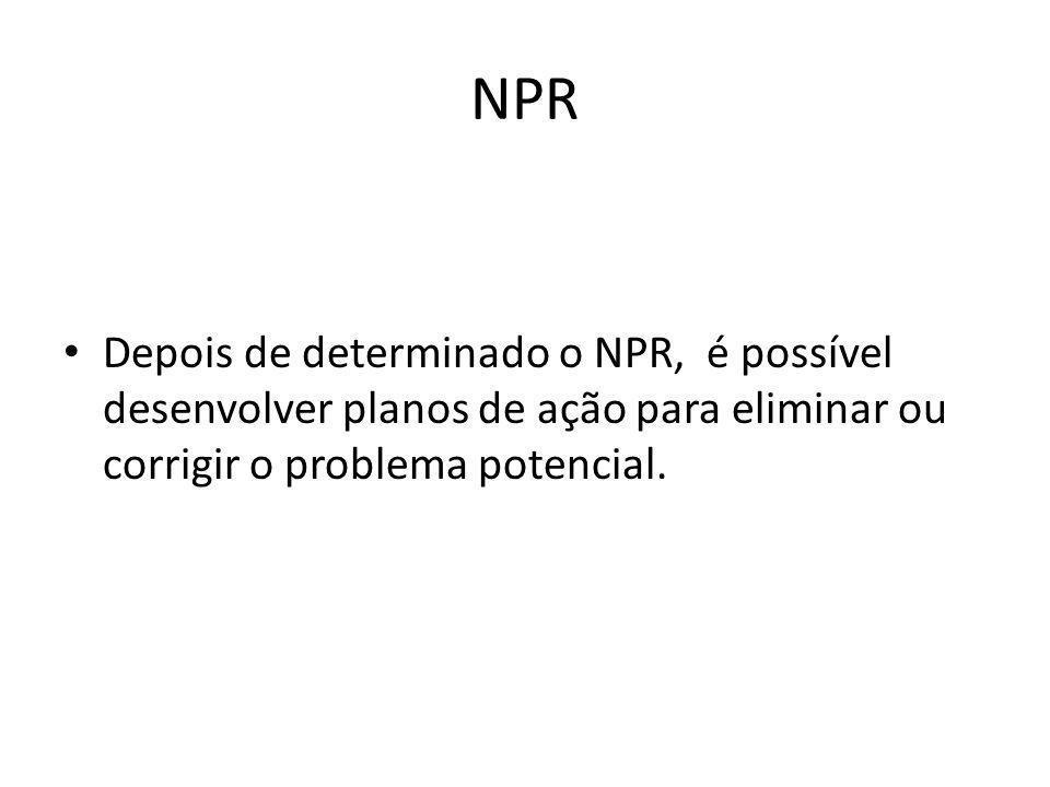 NPR Depois de determinado o NPR, é possível desenvolver planos de ação para eliminar ou corrigir o problema potencial.