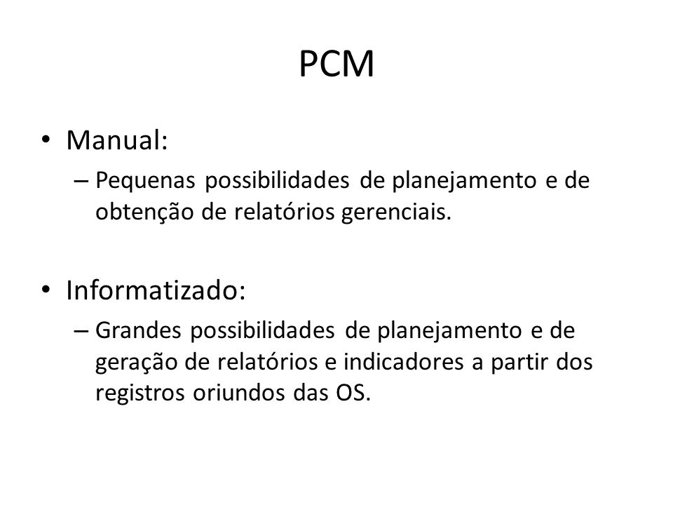 PCM Manual: Informatizado: