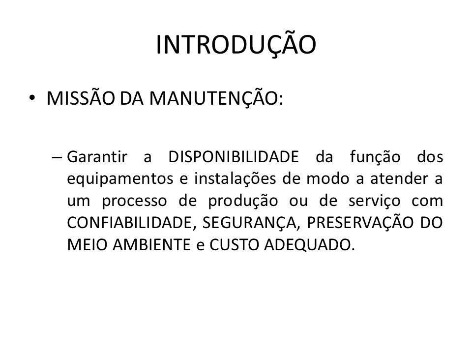 INTRODUÇÃO MISSÃO DA MANUTENÇÃO: