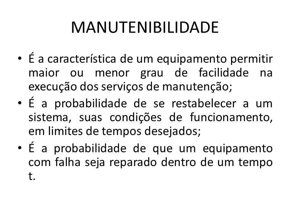 MANUTENIBILIDADE É a característica de um equipamento permitir maior ou menor grau de facilidade na execução dos serviços de manutenção;