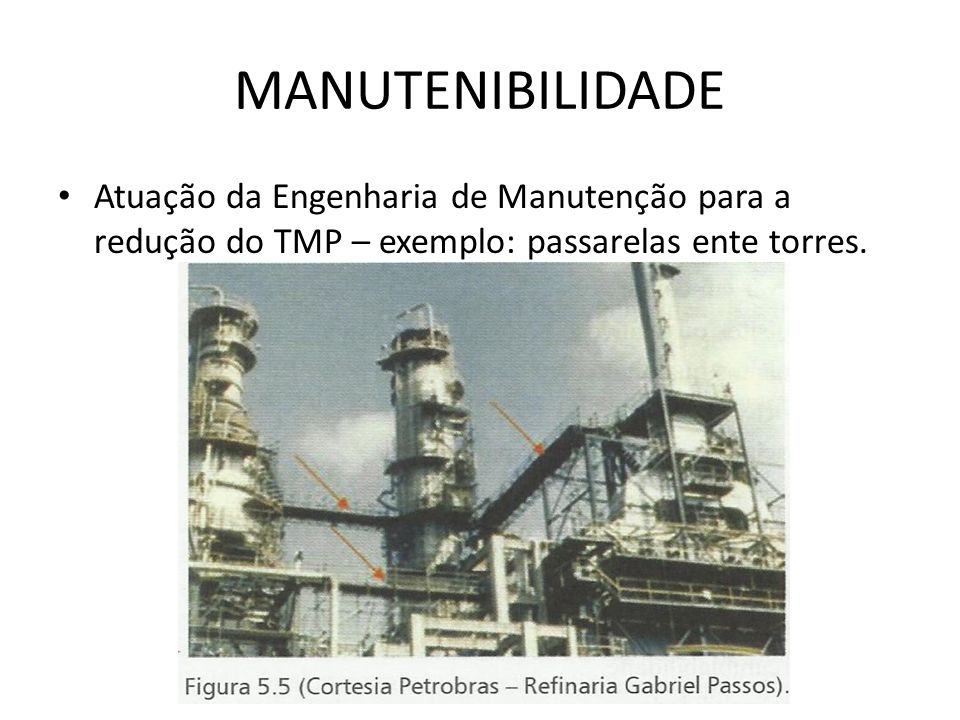 MANUTENIBILIDADE Atuação da Engenharia de Manutenção para a redução do TMP – exemplo: passarelas ente torres.