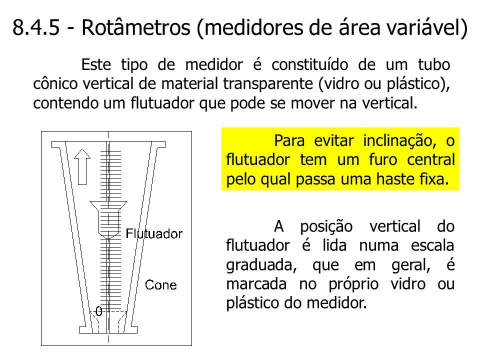 8.4.5 - Rotâmetros (medidores de área variável)