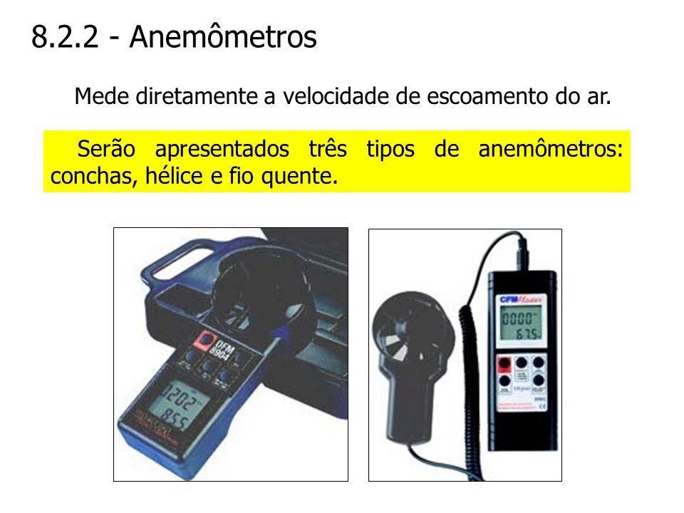 8.2.2 - Anemômetros Mede diretamente a velocidade de escoamento do ar.