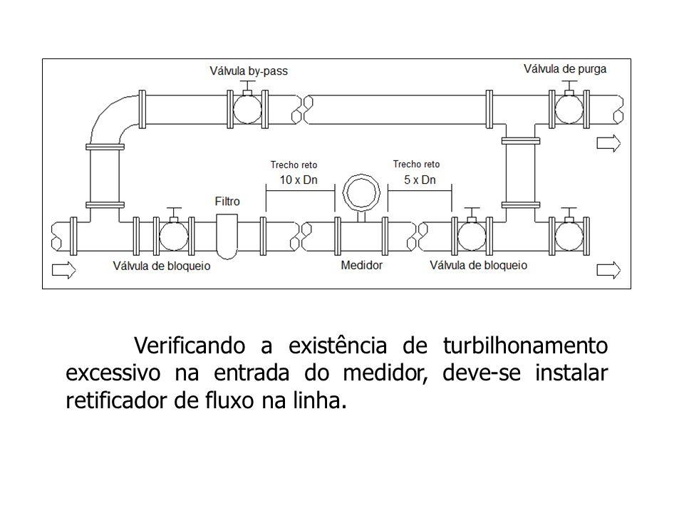 Verificando a existência de turbilhonamento excessivo na entrada do medidor, deve-se instalar retificador de fluxo na linha.