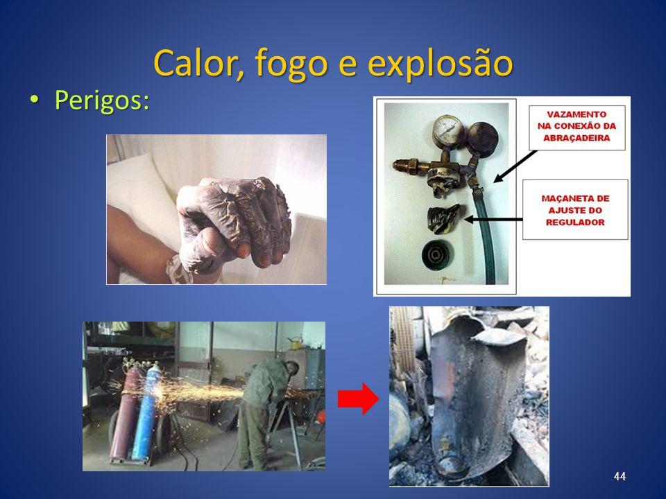 Calor, fogo e explosão Perigos: