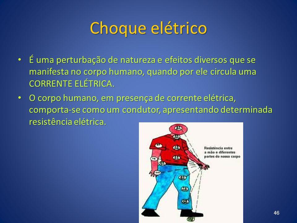 Choque elétrico É uma perturbação de natureza e efeitos diversos que se manifesta no corpo humano, quando por ele circula uma CORRENTE ELÉTRICA.