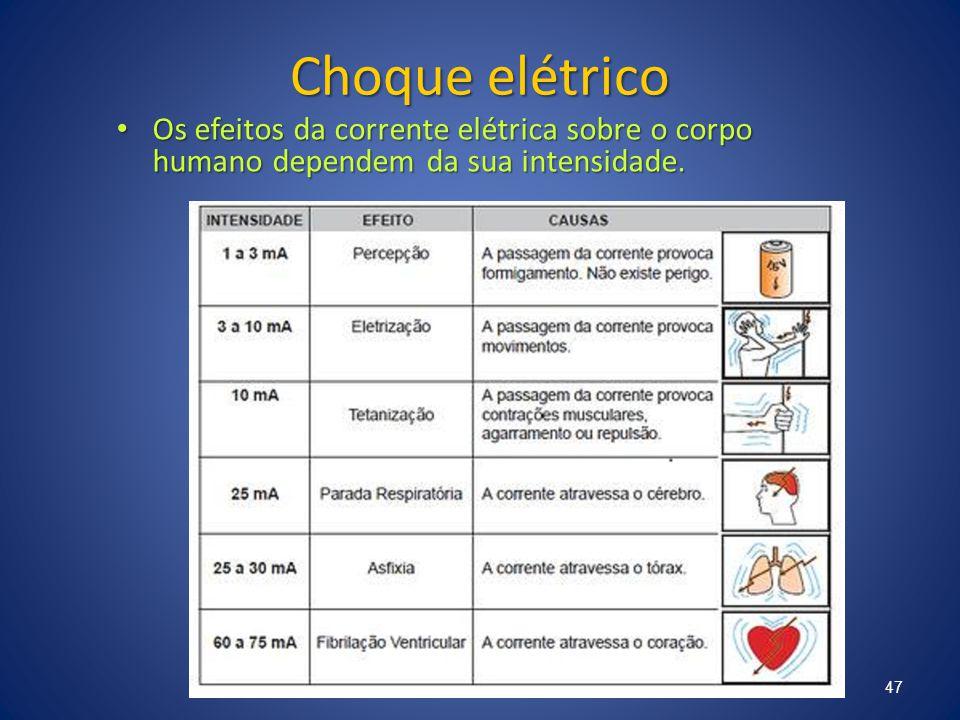Choque elétrico Os efeitos da corrente elétrica sobre o corpo humano dependem da sua intensidade.