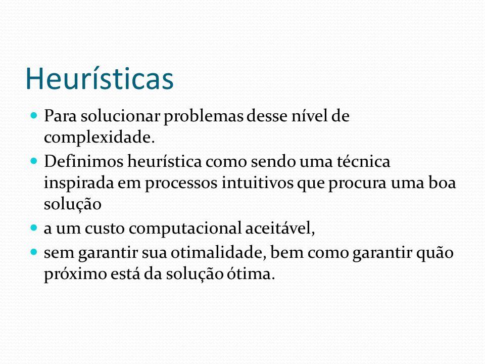 Heurísticas Para solucionar problemas desse nível de complexidade.